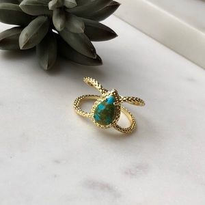 Jewelry - Boho Double Band Teardrop Faux Turquoise Pear Ring